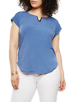 Plus Size Metallic Neck Detail Top - 9428020624446