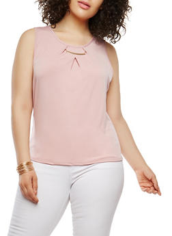 Plus Size Metallic Neck Detail Tank Top - 9428020625635