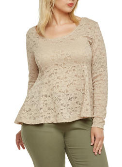 Plus Size Eyelet Long Sleeve Top with Floral Pattern - 9428054268719