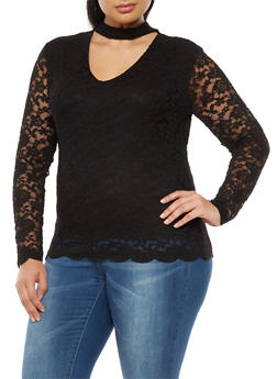 Plus Size Long Sleeve Lace Top with Choker Neck - 9428054269780