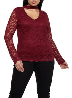 Plus Size Long Sleeve Lace Top with Choker Neck - BURGUNDY - 9428054269780