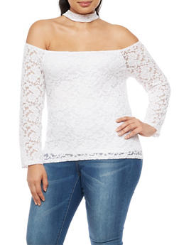 Plus Size Lace Off the Shoulder Choker Top - WHITE - 9428054269786