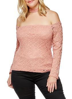 Plus Size Lace Off the Shoulder Choker Top - 9428054269786