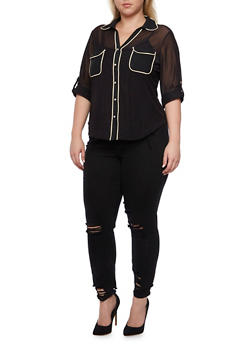 Plus Size Sheer Button Down Blouse with Contrast Trim Pockets - 9428062705308
