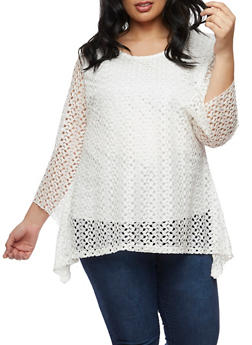 Plus Size Asymmetrical Crochet Top - WHITE - 9428062705629
