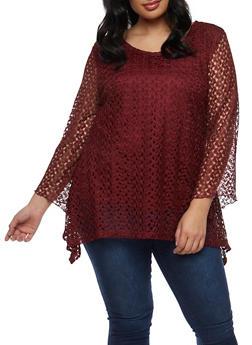 Plus Size Asymmetrical Crochet Top - 9428062705629