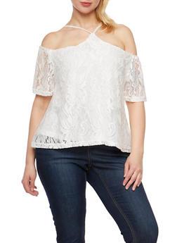 Plus Size Lace Off the Shoulder Halter Top - WHITE - 9428064464356