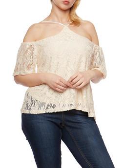 Plus Size Lace Off the Shoulder Halter Top - 9428064464356