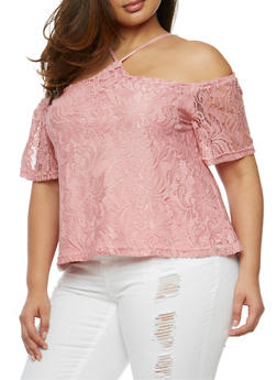 Plus Size Lace Off the Shoulder Halter Top - 9428064464356