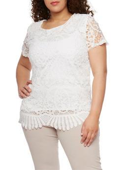 Plus Size Short Sleeve Scalloped Crochet Top - 9428064466310