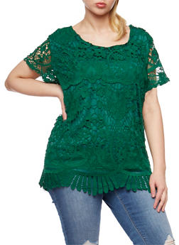 Plus Size Short Sleeve Scalloped Crochet Top - 9428064466310