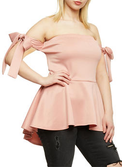 Plus Size Off the Shoulder Peplum Top with Tie Sleeves - 9428072246217