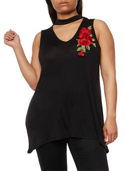 Plus Size Sleeveless Choker Top with Flower Patch - 9428073703070