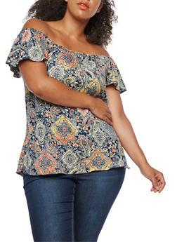 Plus Size Printed Tunic Top - 9429020622149