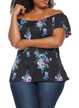 Plus Size Printed Tunic Top - LILAC - 9429020622149