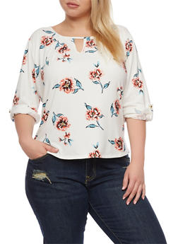 Plus Size Tab Sleeve Floral Top - 9429020624135