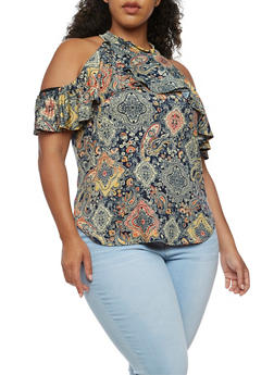 Plus Size Cold Shoulder Printed Top with Ruffle Detail - NAVY - 9429020624561