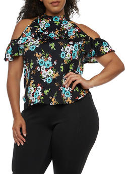 Plus Size Cold Shoulder Printed Top with Ruffle Detail - TURQUOISE - 9429020624561