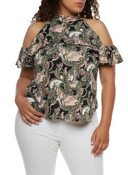 Plus Size Cold Shoulder Printed Top with Ruffle Detail - ROSE - 9429020624561