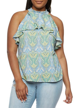 Plus Size Cold Shoulder Printed Top with Ruffle Detail - YELLOW - 9429020624561
