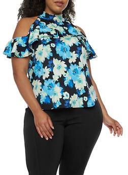 Plus Size Cold Shoulder Printed Top with Ruffle Detail - BLUE - 9429020624561
