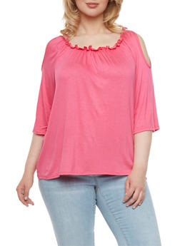 Plus Size Cold Shoulder Top - 9429020624582