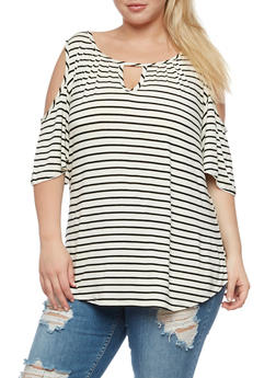 Plus Size Striped Cold Shoulder Top with Keyhole - 9429020624776