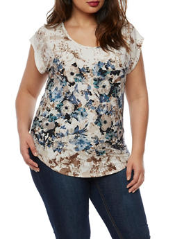 Plus Size Short Sleeve Border Print Top - 9429020624801