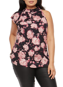 Plus Size Side Ruffle Floral Sleeveless Top - 9429020625236