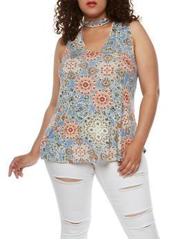 Plus Size Printed Soft Knit Choker Top - 9429020625588