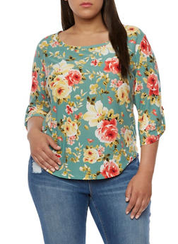 Plus Size Floral Shirttail Top - 9429020626201