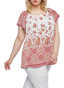 Plus Size Short Sleeve Peasant Top with Floral Paisley Print - 9429020626469