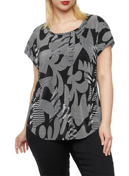 Plus Size Floral Top in Crinkled Knit - 9429020626480