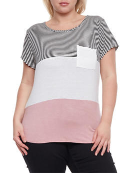 Plus Size Short Sleeve Striped Color Block Top - 9429020626665