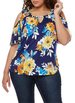 Plus Size Cold Shoulder Keyhole Floral Top - 9429020627767