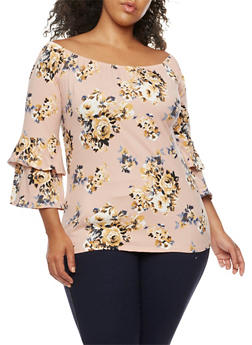 Plus Size Off the Shoulder Floral Print Top with Ruffle Detail - 9429020628756