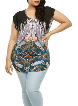 Plus Size Paisley Print Top - 9429020628806
