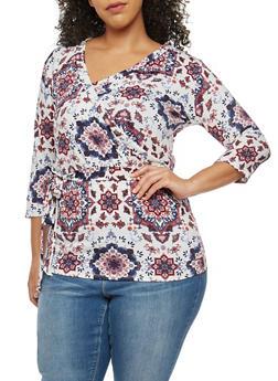 Plus Size Floral Faux Wrap Tie Front Top - 9429054265212