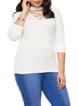 Plus Size Rib Knit Caged Choker Top - IVORY - 9429054269803