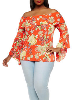 Plus Size Floral Off the Shoulder Top - 9429056123744
