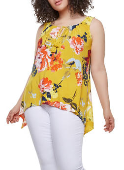 Plus Size Floral Keyhole Tie Neck Top - 9429056124442