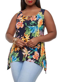 Plus Size Metallic Detail Floral Top - 9429056124448