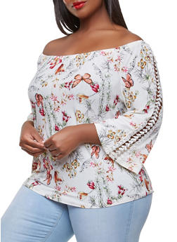 Plus Size Printed Crochet Insert Off the Shoulder Top - 9429056128744