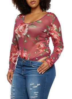 Plus Size Floral Mesh Bodysuit - 9429058750041