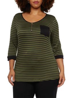 Plus Size Striped Top with Zip Scoop Neck - 9429058752412