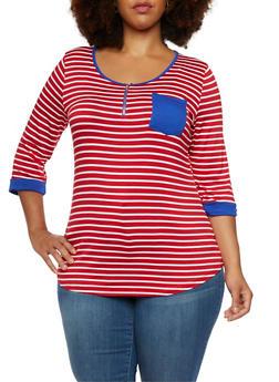 Plus Size Striped Top with Zip Scoop Neck - 9429058752412