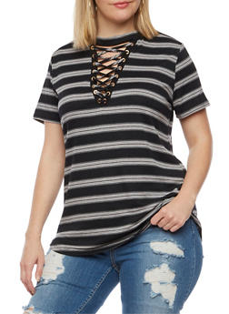 Plus Size Striped Lace Up Top - BLACK - 9429058757429