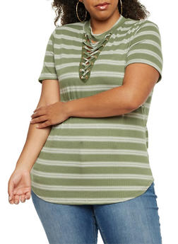 Plus Size Striped Lace Up Top - OLIVE - 9429058757429