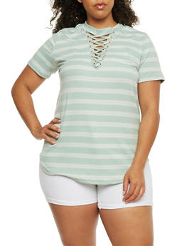 Plus Size Striped Lace Up Top - MINT - 9429058757429