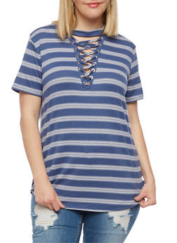 Plus Size Striped Lace Up Top - NAVY - 9429058757429